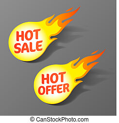 Vector illustration of hot sale and hot offer tags