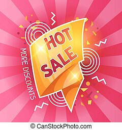 Hot sale banner. Advertising flyer for commerce, discount...