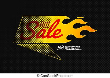 Hot sale banner template design with flame and halftone
