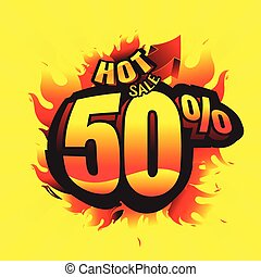 hot sale burn. discount 50%. business promotion. vector illustration. on Yellow background