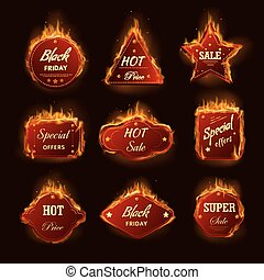 Hot sale burning fire flame black friday shop discount promo...