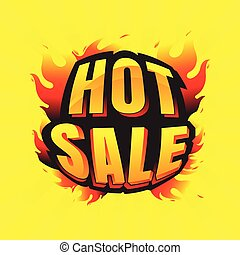 hot sale burning labels discount and tags for hot sale. banner. marketing. Business. percent. on Yellow background. vector