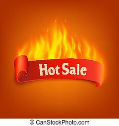Hot sale - burning red ribbon with text and curling edge with realistic fire