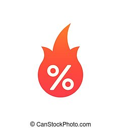 Hot Sale flame and percent sign label, sticker. special offer, big sale, discount percent off. Vector illustration isolated on white background