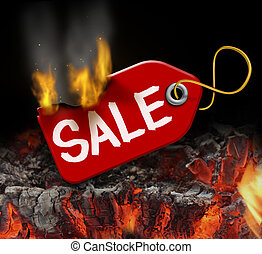 Hot sale and liquidation savings concept with a red price tag on fire over burning coals as a consumer symbol of marketing and advertising bargain prices and good value.