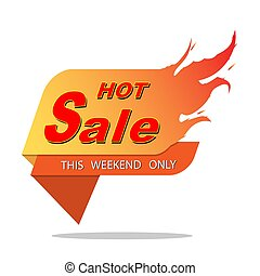 Hot sale price offer deal vector  designs with flame on white background