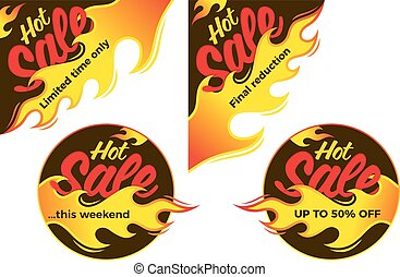 Hot sale price offer deal vector labels stickers. Corner form with flame.
