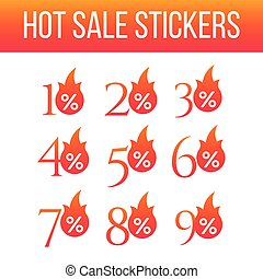 Hot sale special offer discount labels set, Hot Sale flame and percent sign label, sticker. special offer, big sale, discount percent off. Vector illustration isolated on white background