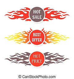 Hot sale text labels flame design