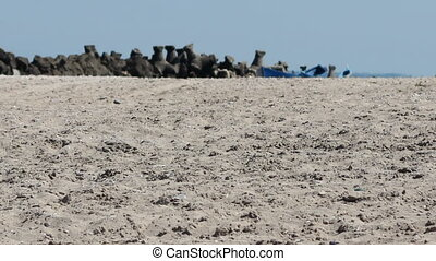 Hot Sand on Beach - A mirage effect on the hot sands of a...