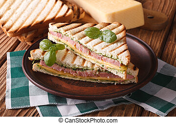 Hot sandwich with ham, cheese closeup on plate. horizontal