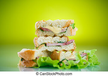 hot sandwiches with ham and cheese