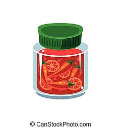 Hot Sauce In Transparent Jar