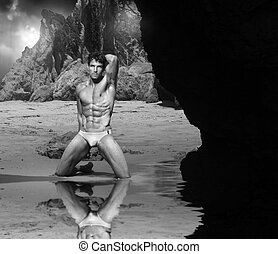 Hot sexy guy at beach
