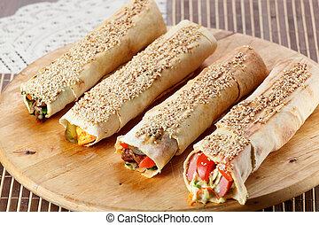hot shawarma with vegetables - hot fresh and tasty shawarma...