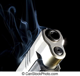 Hot slide - Slide on a pistol that is so hot that smoke is...