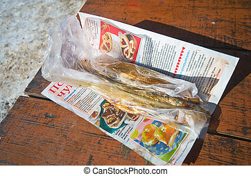 hot smoked Omul (endemic species of fish in the lake Baikal)