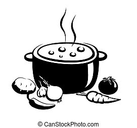 hot soup illustration, food and ingridients