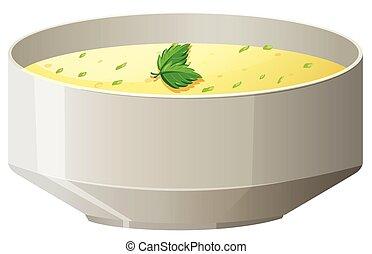 Hot soup in bowl illustration
