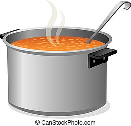 hot soup in pan