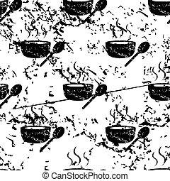 Hot soup pattern, grunge, monochrome