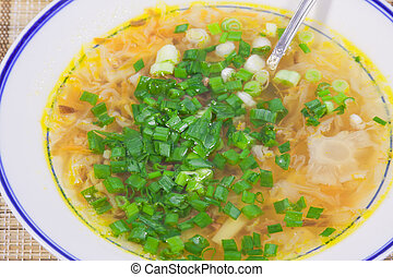 hot soup with the cut spring onions