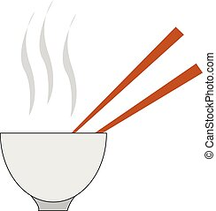 Hot soup with two spoons in a white bowl vector or color illustration