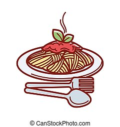 Hot spaghetti with fresh tomato sauce on plate