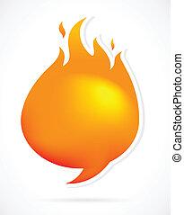 Hot speech bubbles with fire