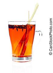 Hot spiced tea made from blending of star anise, cloves, cinnamon, lemon grass and tea