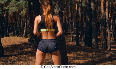 hot sport girl in short shorts with elastic sexy buttocks...