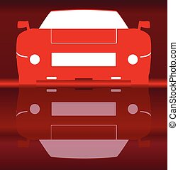 Hot Sportcar Reflection - Silhouette of a modern fast sports...