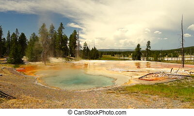 Hot Spring Firehole Lake Drive Yellowstone National Park -...