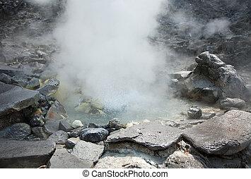 Photo of hot spring in Indonesian vulcano aerea