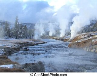 Yellowstone River - Hot spring running into Yellowstone...