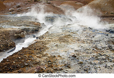 Hot springs, Geothermal area in Iceland