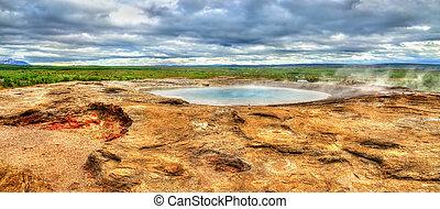 Hot springs in Haukadalur Valley - Iceland - Hot springs in...