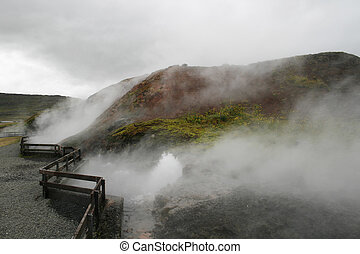 hot steaming water