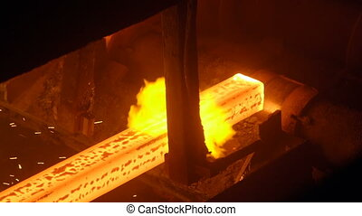 Hot steel billets continuous casting at a metallurgical...