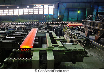 hot steel plate on conveyor
