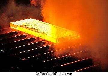 Hot steel plate on conveyor