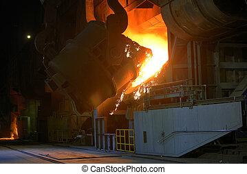 Hot steel pot in plant