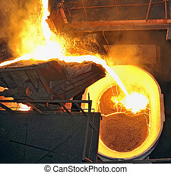 Hot steel pouring