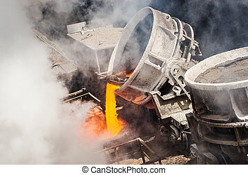 Hot steel pouring  - very hot steel pouring in steel plant