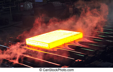 hot steel sheet on conveyor; sheet metal