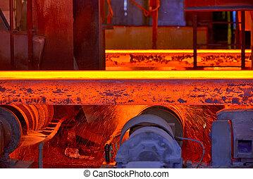 Hot steel slab heated in furnace