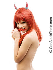 hot - red devil girl with hot chili pepper