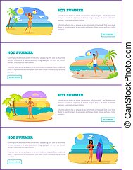 Hot Summer Collection of Pages Vector Illustration
