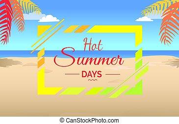 Hot Summer Days on Tropical Beach Illustration.