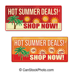 Hot summer deals coupon, voucher, tag. Red and orange...